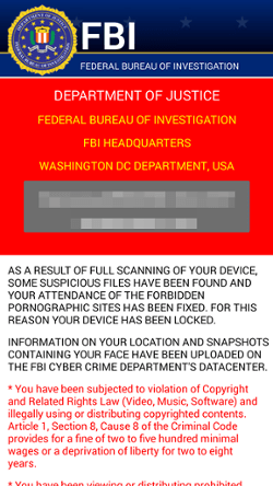 A fake FBI warning used by ransomware to scare victims into paying to unlock their computers. Screenshot courtesy Avast.