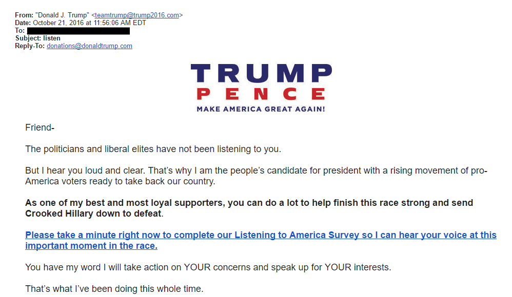Trump email survey