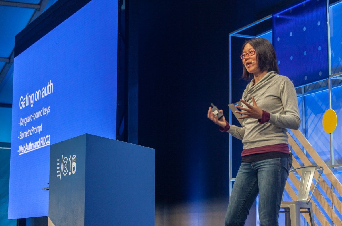 Xiaowen Xin, Android security product manager, discusses new features in Android P at Google I/O 2018 in Mountain View, Calif., on May 10, 2018. <i>Photo by Seth Rosenblatt/The Parallax</i>